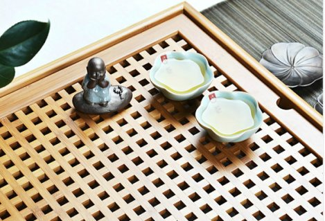 Traditional Chinese tea set, made from bamboo