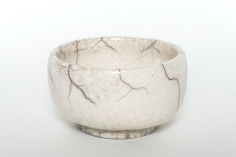 White Crackle Raku Tea Bowl - Trinket Dish - Ring Dish
