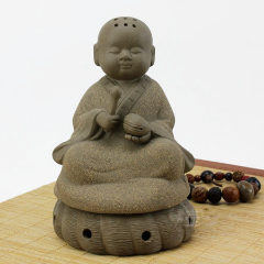 Handcrafted Little Monk Purple Clay Sculpture